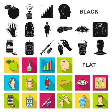 Flache Diabetes-Symbole in der Set-Sammlung für Design. Behandlung von Diabetes Vektor Symbol Lager Web-Illustration. Vektorgrafik