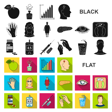 Icônes plats de diabète dans la collection de jeu pour la conception. Traitement du diabète vecteur symbole stock illustration web. Vecteurs