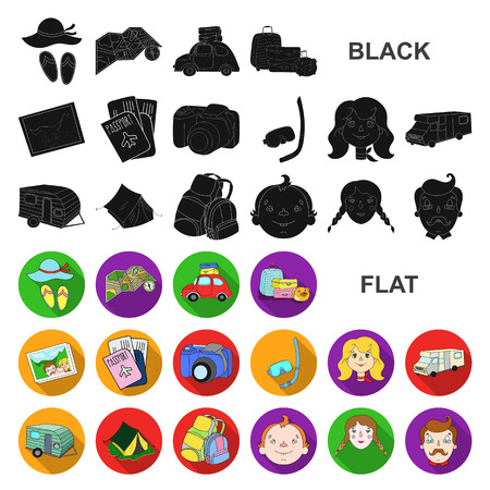 Family holiday flat icons in set collection for design. Recreation and equipment. vector symbol stock web illustration.