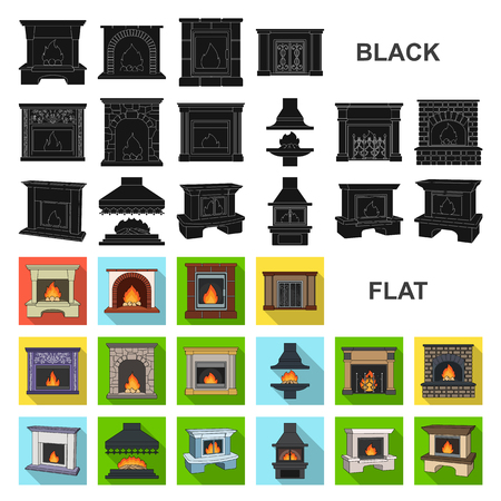 Different kinds of fireplaces flat icons in set collection for design.Fireplaces construction vector symbol stock web illustration. Illusztráció