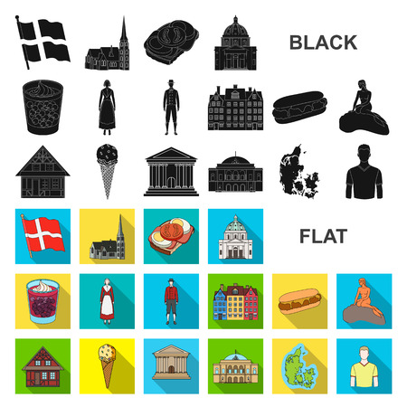 Country Denmark flat icons in set collection for design. Travel and attractions Denmark vector symbol stock web illustration. Çizim