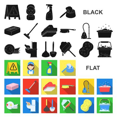 Schoonmaak en meid plat pictogrammen in set collectie voor design. Apparatuur voor het reinigen van vectorillustratie symbool voorraad web.