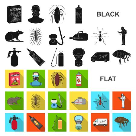 Plagas, veneno, personal y equipo, iconos planos de colección set de diseño. Ilustración de stock de símbolo de vector de servicio de control de plagas. Ilustración de vector