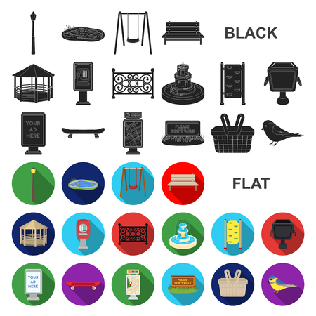 Park, equipment flat icons in set collection for design. Walking and rest vector symbol stock web illustration.