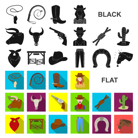 Rodeo, competition flat icons in set collection for design. Cowboy and equipment vector symbol stock web illustration.