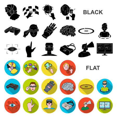 A virtual reality flat icons in set collection for design. Modern technology and equipment vector symbol stock web illustration.