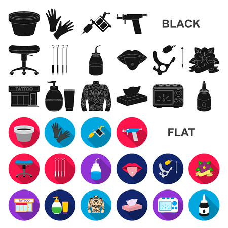 Tattoo, drawing on the body flat icons in set collection for design. Tattoo salon and equipment vector symbol stock web illustration.