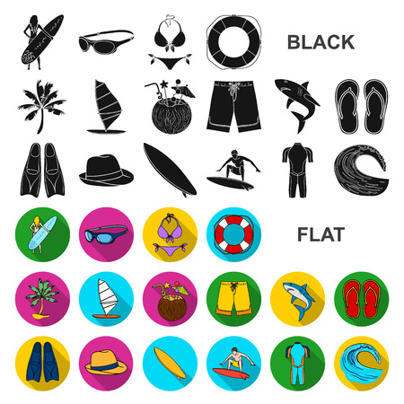 Surfing and extreme flat icons in set collection for design. Surfer and accessories vector symbol stock web illustration.