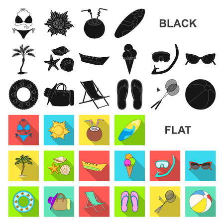 Summer rest flat icons in set collection for design. Beach accessory vector symbol stock web illustration.