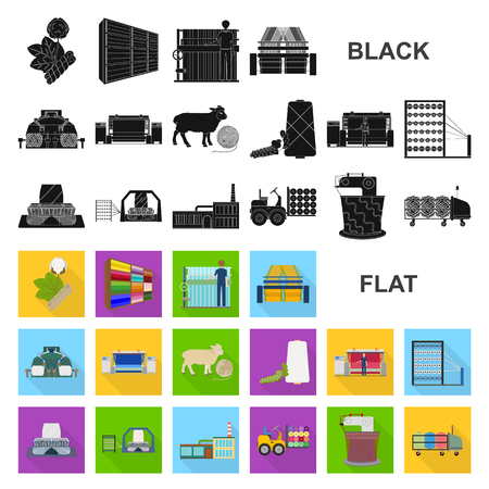 Textile industry flat icons in set collection for design.Textile equipment and fabrics vector symbol stock web illustration.