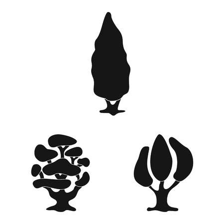 Vector design of tree and nature symbol. Set of tree and crown vector icon for stock.