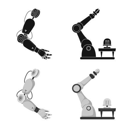 Objeto aislado de robot y símbolo de fábrica. Colección de robot y espacio icono vectorial para stock.