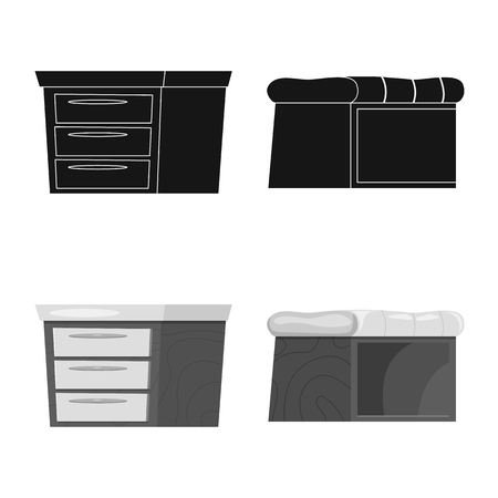 Isolated object of furniture and apartment logo. Collection of furniture and home stock symbol for web.