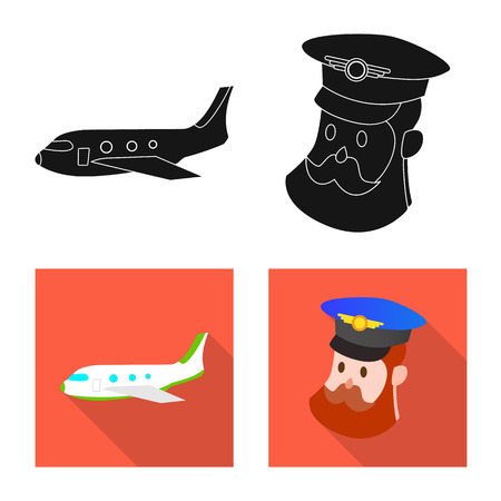 Vector illustration of airport and airplane sign. Collection of airport and plane stock symbol for web.