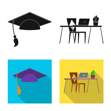 Isolated object of education and learning icon. Collection of education and school stock vector illustration.