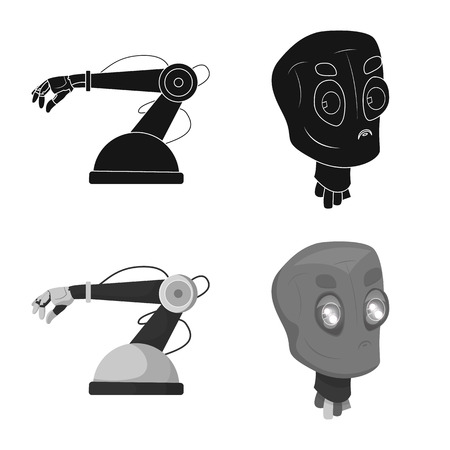 Isolated object of robot and factory logo. Collection of robot and space stock vector illustration. Logos