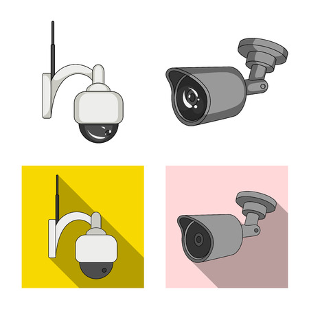 Vector design of cctv and camera logo. Set of cctv and system stock vector illustration. 向量圖像