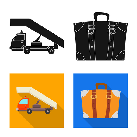 Vector design of airport and airplane icon. Set of airport and plane stock vector illustration. Ilustração