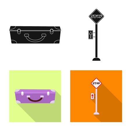 Vector design of train and station sign. Set of train and ticket vector icon for stock.  イラスト・ベクター素材