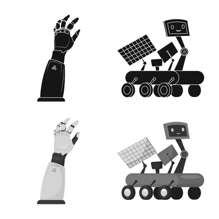 Isolated object of robot and factory icon. Collection of robot and space stock vector illustration. Vectores