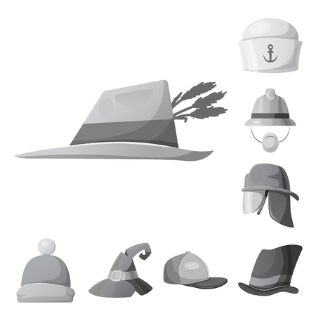 Vector design of headgear and cap sign. Collection of headgear and accessory stock vector illustration. Illustration
