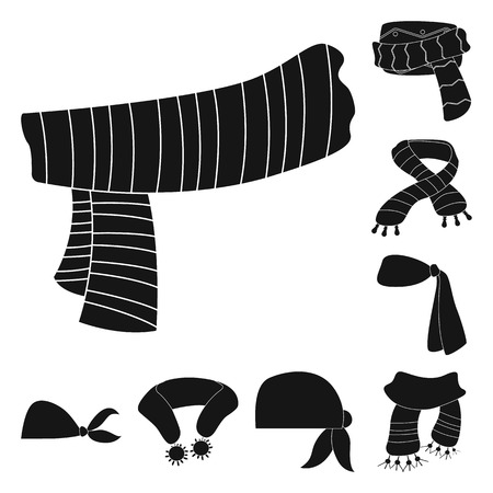 Isolated object of scarf and shawl logo. Set of scarf and accessory stock vector illustration.