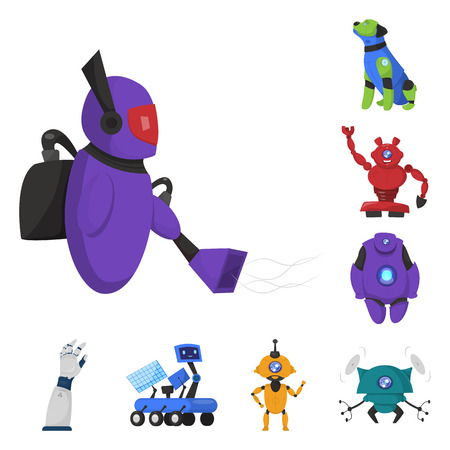 Vector illustration of robot and factory sign. Set of robot and space stock symbol for web. Ilustrace