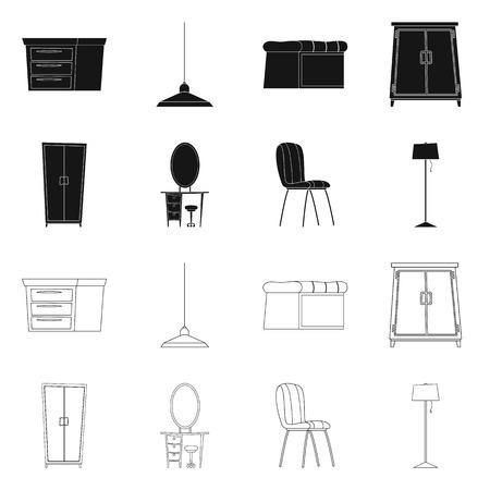Oggetto isolato di mobili e icona dell'appartamento. Set di mobili e casa simbolo azionario per il web.