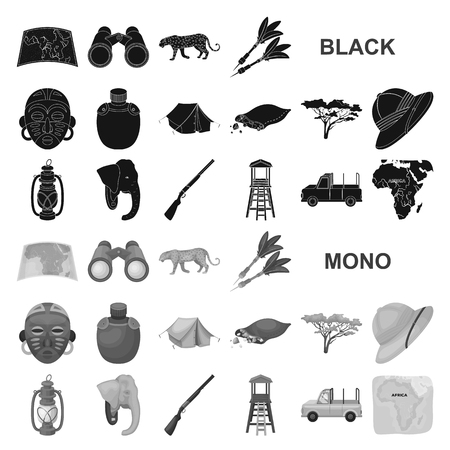 African Safari black icons in set collection for design. Trophies and equipment for Safari vector symbol stock web illustration.