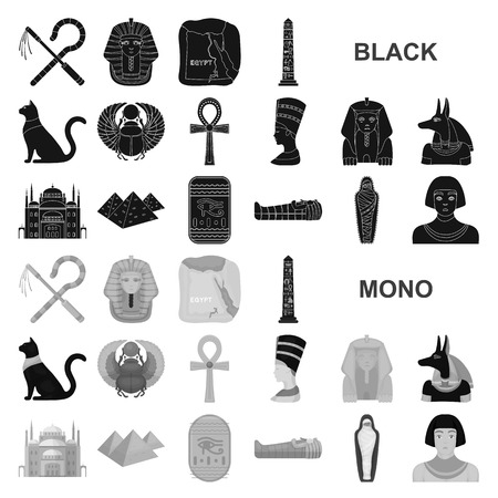 Ancient Egypt black icons in set collection for design. The reign of Pharaoh vector symbol stock illustration.