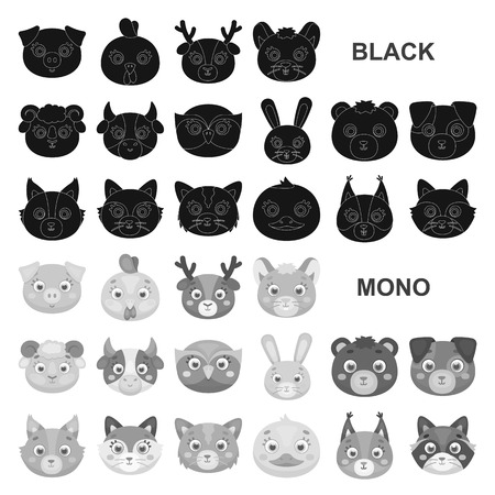Muzzles of animals black icons in set collection for design. Wild and domestic animals vector symbol stock  illustration.
