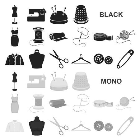 Atelier und Nähen von schwarzen Symbolen in Set-Kollektion für Design. Ausrüstung und Werkzeuge zum Nähen von Vektorsymbol-Vorratillustration. Vektorgrafik