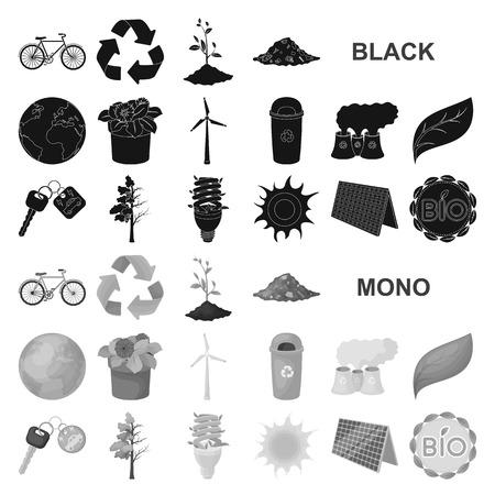 Bio en ecologie zwarte pictogrammen in set collectie voor design. Een ecologisch zuivere product vector symbool stock illustratie.