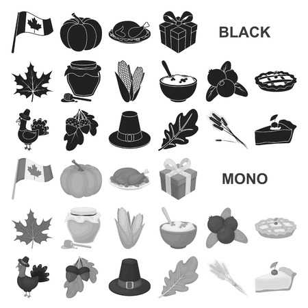 Canada Thanksgiving Day black icons in set collection for design. Canada and Tradition vector symbol stock  illustration. Ilustração