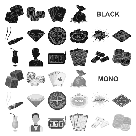 Casino and gambling black icons in set collection for design. Casino and equipment vector symbol stock illustration. Vector Illustratie