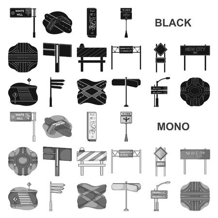 Cruces de carreteras y signos iconos negros en la colección de conjunto para el diseño. Cruces peatonales y signos vector símbolo stock ilustración.