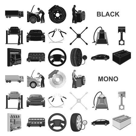 Car, lift, pump and other equipment black icons in set collection for design. Car maintenance station vector symbol stock illustration . Vectores