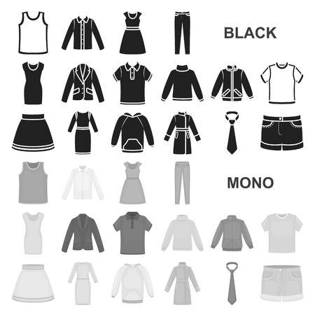 Different kinds of clothes black icons in set collection for design. Clothes and style vector symbol stock  illustration.