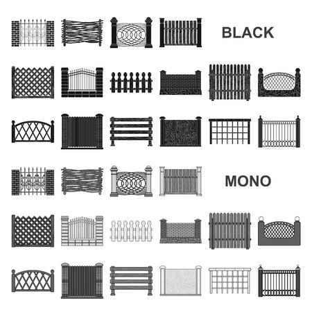 Diverse icone nere di recinzione nella raccolta di set per il design. Recinzione decorativa simbolo vettore illustrazione stock.