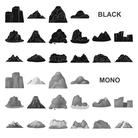 Different mountains black icons in set collection for design.Mountains and landscape vector symbol stock  illustration. Ilustrace
