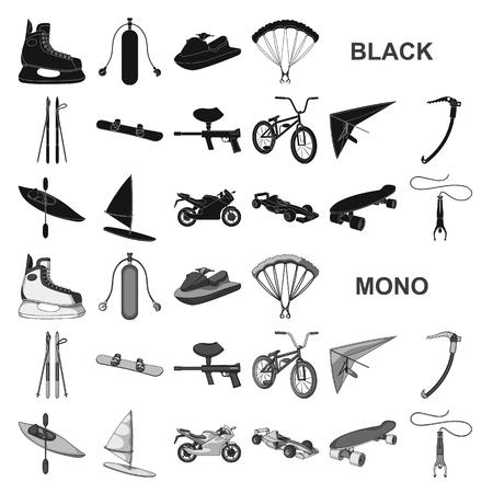 Schwarze Symbole der extremen Sportart in der Satzsammlung für Design. Verschiedene Arten von Sportvektorsymbol-Lagerillustration.