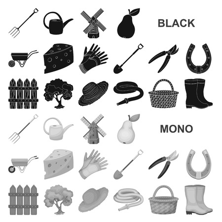 Farm and gardening black icons in set collection for design. Farm and equipment vector symbol stock  illustration. Иллюстрация