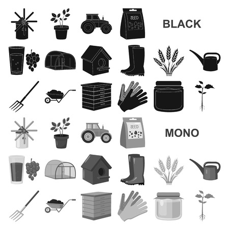 Farm and gardening black icons in set collection for design. Farm and equipment vector symbol stock  illustration. Stock Illustratie