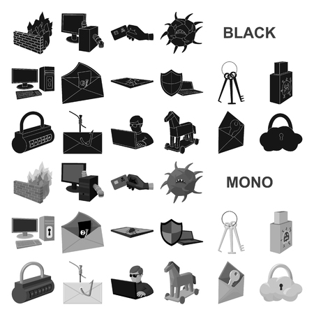 Hacker and hacking black icons in set collection for design. Hacker and equipment vector symbol stock  illustration. Illustration