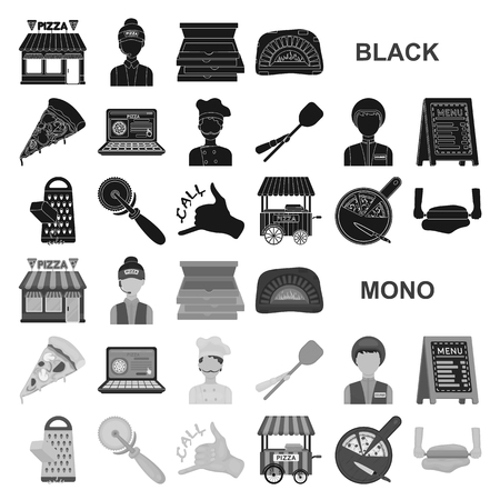 Pizza and pizzeria black icons in set collection for design. Staff and equipment vector symbol stock illustration. Vektorové ilustrace