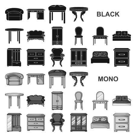Möbel und schwarze Innenikonen in der Satzsammlung für Design. Wohnmöbelvektorsymbolvorratillustration.