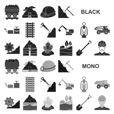 Mining industry black icons in set collection for design. Equipment and tools vector symbol stock web illustration. Illustration