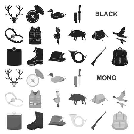Hunting and trophy black icons in set collection for design. Hunting and equipment vector symbol stock web illustration. Çizim