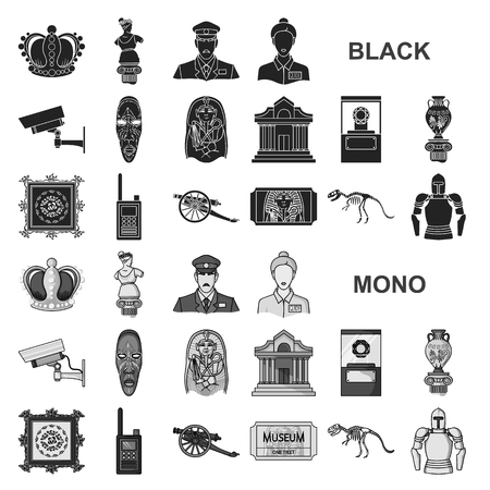 Museum and gallery black icons in set collection for design. Storage and exhibition of showpiece vector symbol stock web illustration. Vetores