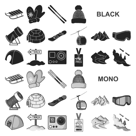 Ski resort and equipment black icons in set collection for design. Entertainment and recreation vector symbol stock web illustration.